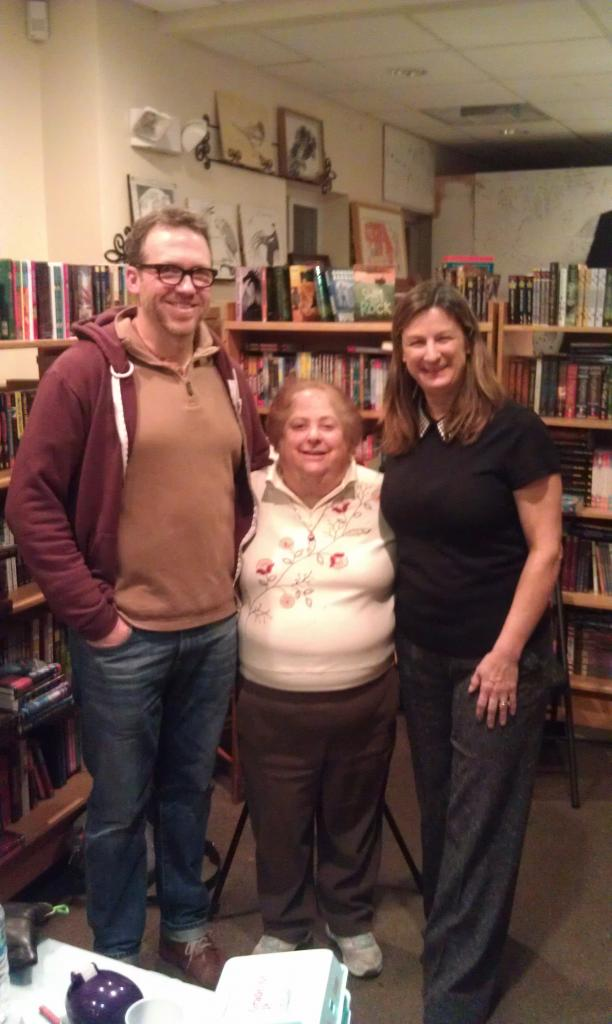 Brian Biggs, bookstore owner Ellen Mager, and Debbie