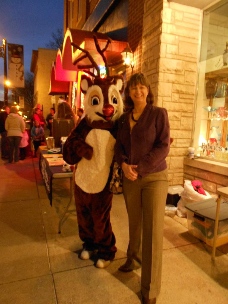 Debbie and a reindeer friend