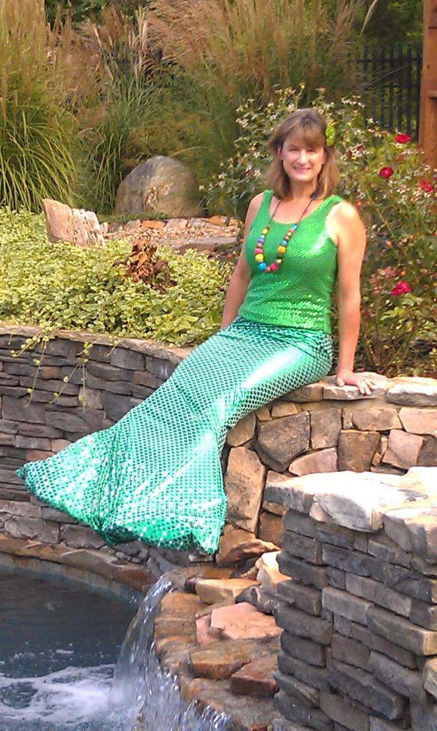 Debbie in mermaid tail