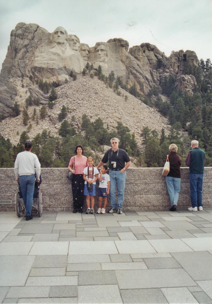 Debbie and family at Mount Rushmore